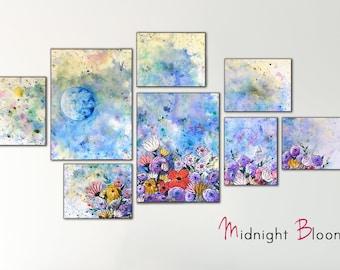 Grande fleur bleue, peinture originale sur toile - nuit ciel peinture avec pleine lune Art - œuvre d'Art Floral chambre bleue