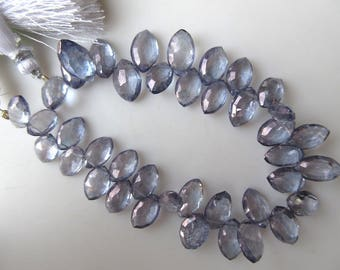 Natural Quartz Crystal Iolite Color Faceted Marquise Briolette Beads, 11mm To 15mm Beads, Coated Quartz Crystal Jewelry, GDS931
