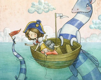 Making New Friends - A4 Print - boat voyage adventure Sea Monster boy girl admiral viking dress up fantasy make believe boat ocean hello