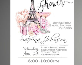 Paris Bridal Shower Invitation, Eiffel Tower Invite, Paris Shower Invitation, Printable Invitation - INSTANT DOWNLOAD