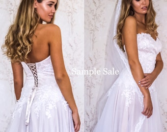 Blush Wedding Dress, Corset Lace Wedding Gown, Strapless A Line Bridal Dress, Lace Tulle Wedding Gown, SAMPLE SALE