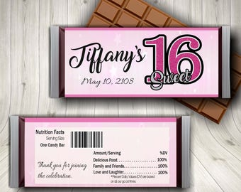 Sweet Sixteen, Sweet 16 Party, Candy Bar Wrapper, 16th Birthday Girl, Sweet 16 Party Decor, Sweet 16 Favors, Custom Sweet 16, Happy Sweet 16