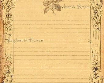 PRINTABLE AntiQuE JOURNAL Paper DOWNLOAD Original Lined Stationery - Instant Digital Print Scrapbook Paper Letter Writing Digital Page #S270