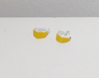 Small Yellow Clip On Earrings, Painted, Enameled, Hexagon, Open End, Wide, Minimalist, Never Worn, Vintage 80s, Costume Jewelry