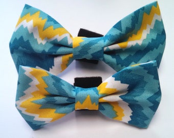 Blue, Yellow, and White Zig Zag - Bow Tie or Flower