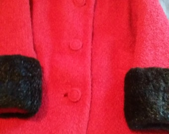 Red Boucle Wool Vintage 1960s Coat with Fur Trim US 8 UK 12 Very Jackie O Style