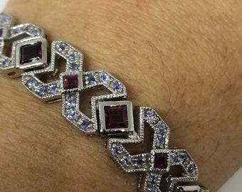 Handmade Deco Vintage Genuine Garnet 925 Sterling Silver Tennis Bracelet