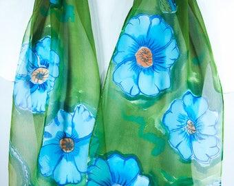 "Hand painted silk scarf. Poppy Silk Scarf. 10x58"" chiffon~Painted silk scarf. Poppy Scarf. Hand painted silk scarf. Handpainted silk scarves"