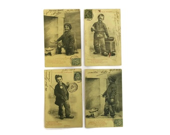 French Antique Chimney Sweep Postcards. Victorian Children Art Post cards. French Ephemera.