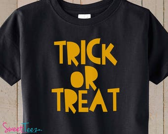 Halloween Shirt Trick or Treat Shirt Boy Girl Shirt Black TSHIRT Toddler