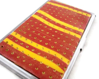 Business card case or credit card storage unique red and yellow stripes