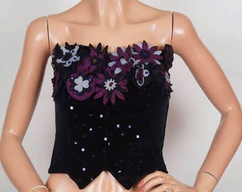 1950s Black Velvet Bustier Top -  Felt Flowers and Sequins - 50s Strapless Top - S