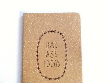 Bad ass moleskine notebook, BFF gifts, Cute notebook, Inspirational journal, Pocket notebook, Writing journal, Small gifts for women