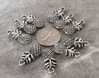 10 2 sided Pineapple pendants or charms,  2 sided pendant, charm bangle or bracelet, Pineapple pendants