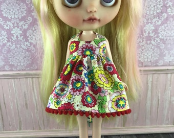 SALE - Blythe Dress - Skulls and Flowers