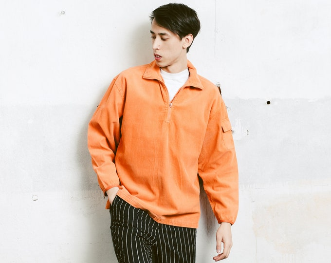 Orange Corduroy Jacket . 90s Vintage Cord Sweater Men's Cord Jumper Hipster Outfit Boyfriend Gift . size Medium M
