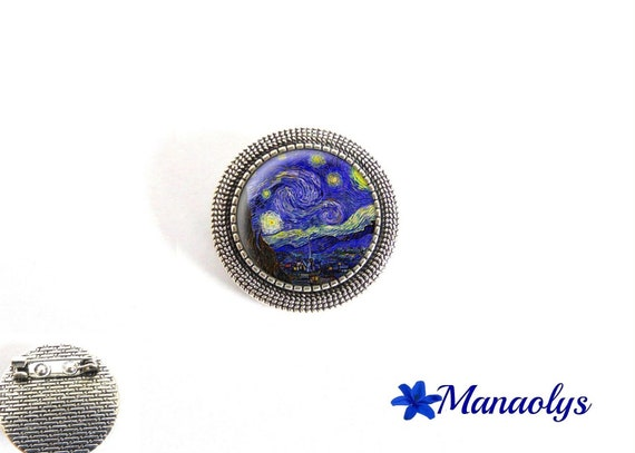 Brooch antique silver round brooch, Vincent Van gogh, starry night, painter, 33 glass cabochons