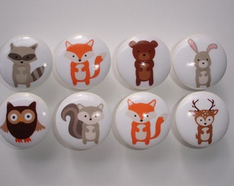 Woodland Animal Dresser Drawer Knobs Set of 8