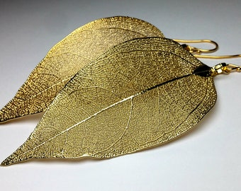 Real leaf earrings Gold boho earrings Gold leaves Long dangle earrings 14K Gold earrings Boho jewelry Statement earrings Gift for women