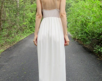 true love - ivory organic bamboo paired with vintage 1960's floral lace bohemian hippie wedding maxi dress small
