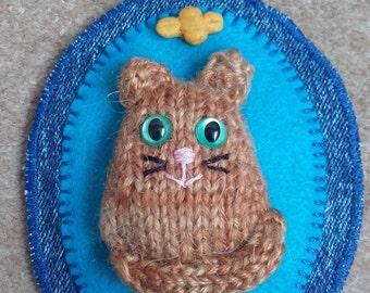 Knitted ginger cat & fabric bag charm, kittie Bag charm, knitted cat on a recycled denim fabric bag charm