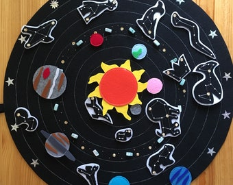 Felt astronomy play educational set, solar system, Sun, planets and constellations
