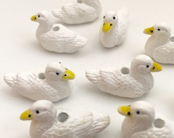 6 White Duck Beads -Slightly Defective-