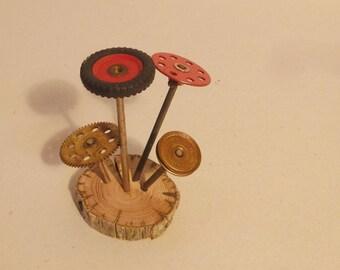 Toys old mechanics mushrooms forest