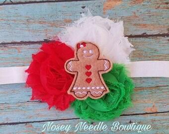 Gingerbread man hair bow, Gingerbread man headband, Gingerbread girl hair bow, Gingerbread girl headband, Christmas hair bow, Gingerbread