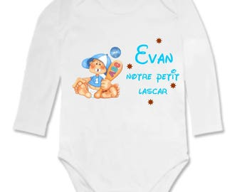 This little fellow personalized with name Bodysuit