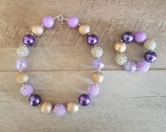 Purple Gold Chunky Necklace, Bubblegum Bead Necklace, Chunky Beads, Baby Bubblegum Necklace, First Birthday, Purple Gold Baby Necklace,