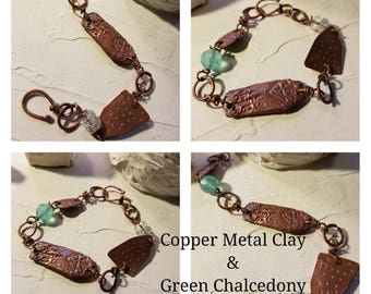 Copper Metal clay and Green Chalcedony