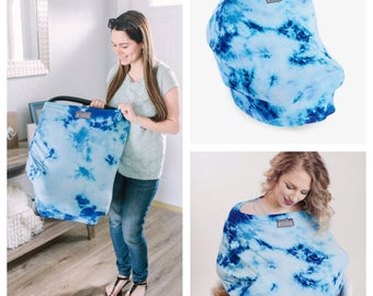 FREE SHIPPING Stretchy nursing cover and car seat cover, Multifunctional,tie dye, breastfeeding , car seat canopy, baby shower shopping cart