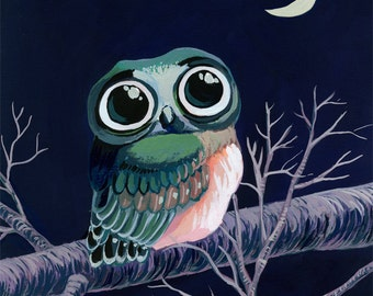 Little Owl art print - gouache reproduction