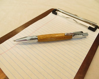 Wooden pen, wooden pencil, hand turned, chrome