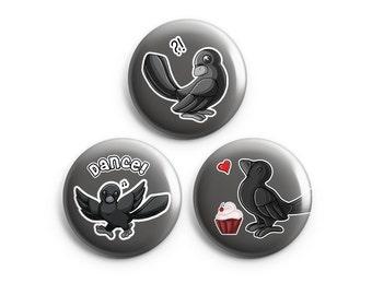 Crow badges, épingles, boutons, Badges, mignon Animal Art, danse Corbeau, Corneille confus, Cupcake Crow