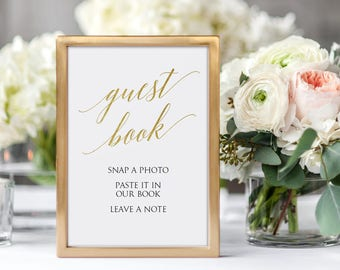 Photo Guest Book Sign Printable - Wedding Guest sign in - Gold Photo Guest Book Sign 5x7 inches - Instant Download - Editable PDF - #GD3418