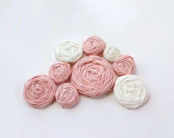 SALE Assorted Apricot and Ivory Fabric Rosettes Embellishment