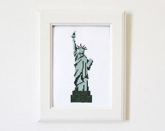 NYC Statue of Liberty modern cross stitch pattern PDF - Instant download
