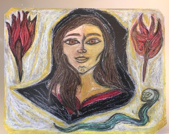 Hecate Phosphorous, original painting in chalk pastels, 28x22 cm