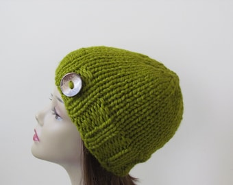 Chunky Knit Hat Winter Hat Chunky Knit Beanie Womens Hat Teens Hat - Lemongrass with  Button Accent  - Ready to Ship - Gift for Her