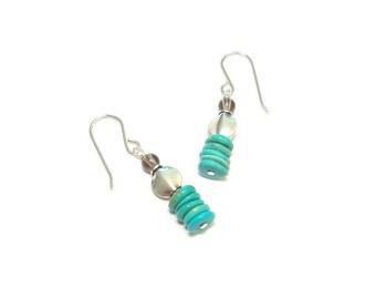 Ethnic earrings - Turquoise and smoky Quartz