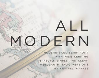 Sans Serif Font by Kestrel Montes, Installable Digital Font, All Modern sans serif font, DIY wedding invitation font, business logo font