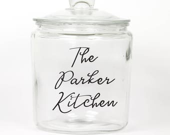 Personalized Last Name Glass Cookie Jar