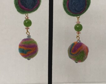 Wool Felt and Jade Gold Earrings