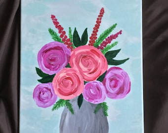 Gift for Her 12 x 16 Flower Painting - Flower Art - Pink Flower Painting - Acrylic Wall Art - Flowers in a Vase Floral Painting