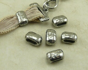 6 TierraCast 6x2mm Hammertone Hammered Large Barrel Crimp Spacer Beads > Antiqued Pewter Plated Lead Free Pewter I ship Internationally 5792
