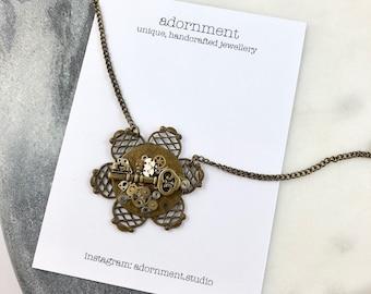 Steampunk Flower Pendant on Chain