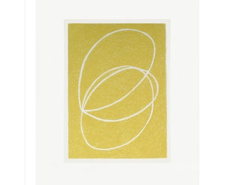 Small abstract screenprint, original, handmade, yellow and off white, small minimal wall art on gorgeous paper by Emma Lawrenson.