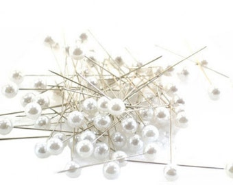 Corsage Pins Ivory White Pearl 72 pcs